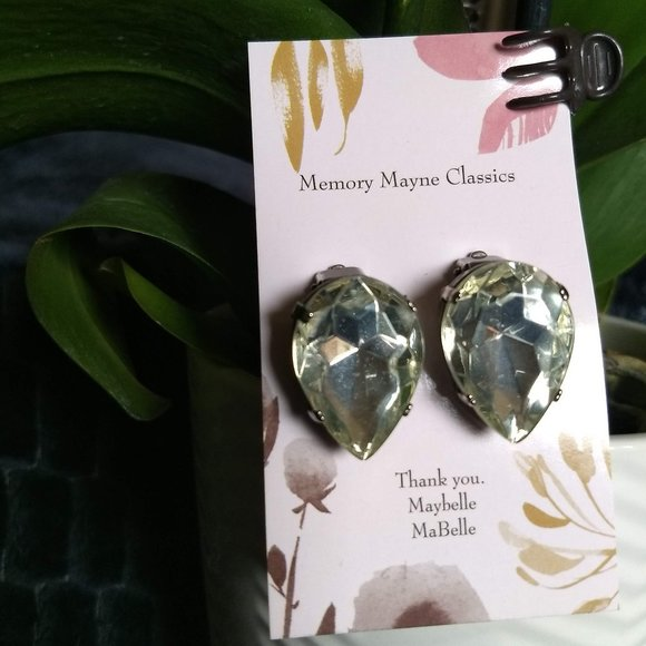 3/$25 sparkly crystal tear drop statement earrings